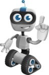 Robot on Wheels Cartoon Vector Character AKA ROWAN - Attention