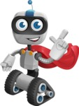 Robot on Wheels Cartoon Vector Character AKA ROWAN - Super Robot