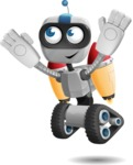 Robot on Wheels Cartoon Vector Character AKA ROWAN - Flying