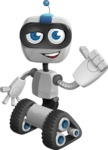 Robot on Wheels Cartoon Vector Character AKA ROWAN - Thumbs Up