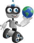 Robot on Wheels Cartoon Vector Character AKA ROWAN - Earth