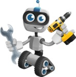 Robot on Wheels Cartoon Vector Character AKA ROWAN - Workman 1