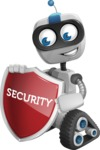 Robot on Wheels Cartoon Vector Character AKA ROWAN - Security 2