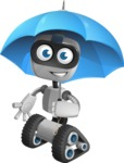 Robot on Wheels Cartoon Vector Character AKA ROWAN - Umbrella
