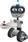 Robot on Wheels Cartoon Vector Character AKA ROWAN - Joystick
