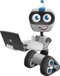 Robot on Wheels Cartoon Vector Character AKA ROWAN - Laptop 1