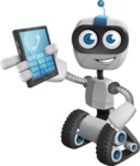 Robot on Wheels Cartoon Vector Character AKA ROWAN - Phone