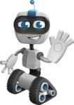 Robot on Wheels Cartoon Vector Character AKA ROWAN - Wave