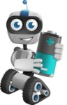 Robot on Wheels Cartoon Vector Character AKA ROWAN - Battery