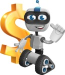 Robot on Wheels Cartoon Vector Character AKA ROWAN - Dollar