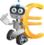 Robot on Wheels Cartoon Vector Character AKA ROWAN - Euro