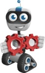 Robot on Wheels Cartoon Vector Character AKA ROWAN - Gears