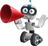 Robot on Wheels Cartoon Vector Character AKA ROWAN - Loudspeaker
