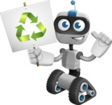 Robot on Wheels Cartoon Vector Character AKA ROWAN - Recycle