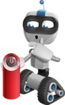 Robot on Wheels Cartoon Vector Character AKA ROWAN - Power Button