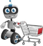 Robot on Wheels Cartoon Vector Character AKA ROWAN - Shopping Cart