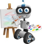 Robot on Wheels Cartoon Vector Character AKA ROWAN - Artist