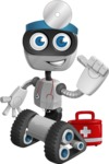 Robot on Wheels Cartoon Vector Character AKA ROWAN - Doctor