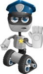 Robot on Wheels Cartoon Vector Character AKA ROWAN - Policeman