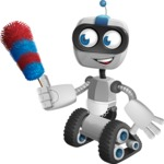 Robot on Wheels Cartoon Vector Character AKA ROWAN - Cleaner