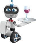 Robot on Wheels Cartoon Vector Character AKA ROWAN - Waiter