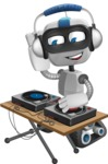 Robot on Wheels Cartoon Vector Character AKA ROWAN - DJ