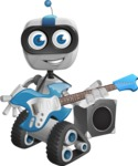 Robot on Wheels Cartoon Vector Character AKA ROWAN - Musician