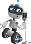 Robot on Wheels Cartoon Vector Character AKA ROWAN - Singer