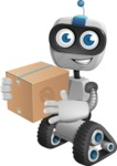 Robot on Wheels Cartoon Vector Character AKA ROWAN - Delivery 1