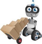 Robot on Wheels Cartoon Vector Character AKA ROWAN - Delivery 2