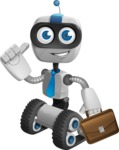 Robot on Wheels Cartoon Vector Character AKA ROWAN - Businessman