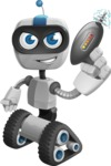 Robot on Wheels Cartoon Vector Character AKA ROWAN - Gun 1