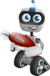 Robot on Wheels Cartoon Vector Character AKA ROWAN - Gun 2