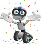Robot on Wheels Cartoon Vector Character AKA ROWAN - Celebrated