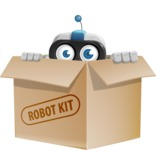 Robot on Wheels Cartoon Vector Character AKA ROWAN - Box
