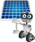 Robot on Wheels Cartoon Vector Character AKA ROWAN - Solar Panel