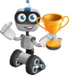 Robot on Wheels Cartoon Vector Character AKA ROWAN - Winner