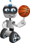 Robot on Wheels Cartoon Vector Character AKA ROWAN - Basketball