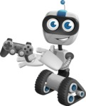 Robot on Wheels Cartoon Vector Character AKA ROWAN - Game
