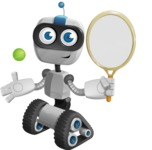 Robot on Wheels Cartoon Vector Character AKA ROWAN - Tennis 1