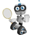 Robot on Wheels Cartoon Vector Character AKA ROWAN - Tennis 2