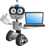 Robot on Wheels Cartoon Vector Character AKA ROWAN - Laptop 2