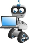 Robot on Wheels Cartoon Vector Character AKA ROWAN - Laptop 3