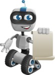 Robot on Wheels Cartoon Vector Character AKA ROWAN - Sign 1