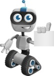 Robot on Wheels Cartoon Vector Character AKA ROWAN - Sign 2