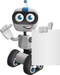 Robot on Wheels Cartoon Vector Character AKA ROWAN - Sign 3