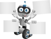 Robot on Wheels Cartoon Vector Character AKA ROWAN - Sign 8