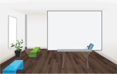 Room Backgrounds Vector Collection - Room with Whiteboard Vector Background