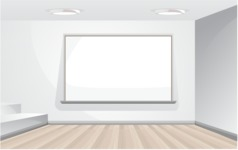Room Backgrounds Vector Collection - Realistic Office Room Vector Background