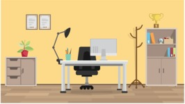 Room Backgrounds Vector Collection - Modern Office Room Vector Interior